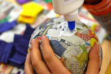 Children Hands Are Making A Pinata.