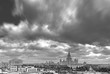 Grayscale monochrome panoramic wide angle view of Moscow university campus under dramatic sky in sprimg