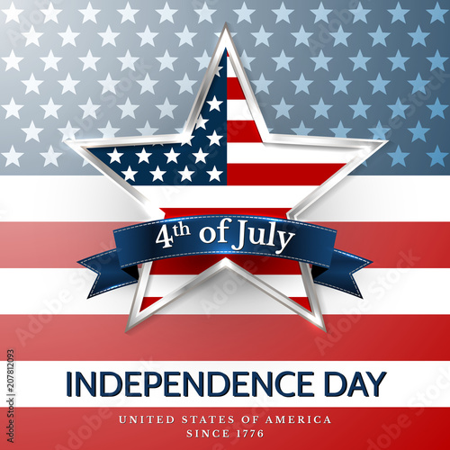 Fotografía  4 th july usa star, independence day. Vector illustration