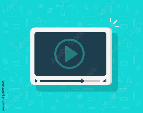 Fotografie, Obraz  Video player icon vector, flat cartoon media player symbol isolated