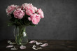 canvas print picture - Still life with a beautiful bouquet of pink peony flowers. holiday or wedding background