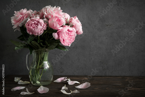 Foto op Canvas Bloemen Still life with a beautiful bouquet of pink peony flowers. holiday or wedding background
