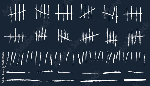 Valokuva  Creative vector illustration of counting waiting tally number marks isolated on background