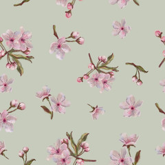 Floral Seamless Pattern with Pink Sakura on Lime Background. Pink Flower Pattern for Background, Print, and Textile. Vintage Style Seamless Pattern with Sakura Flowers.