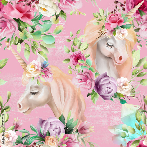 Fototapeta Jednorożec beautiful-watercolor-unicorns-princess-pegasus-with-violet-and-cream-peony-pink-roses-magic-crystals-and-floral-flowers-bouquets-on-pink-background-with-glitter-seamless-pattern