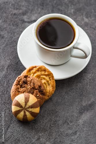 Spoed Foto op Canvas Cafe Cup of coffee and sweet cookies.