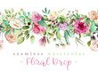 Leinwanddruck Bild - Beautiful watercolor flowers - violet roses, creaem peony and floral greenery branches and leaves seamless tileable drop