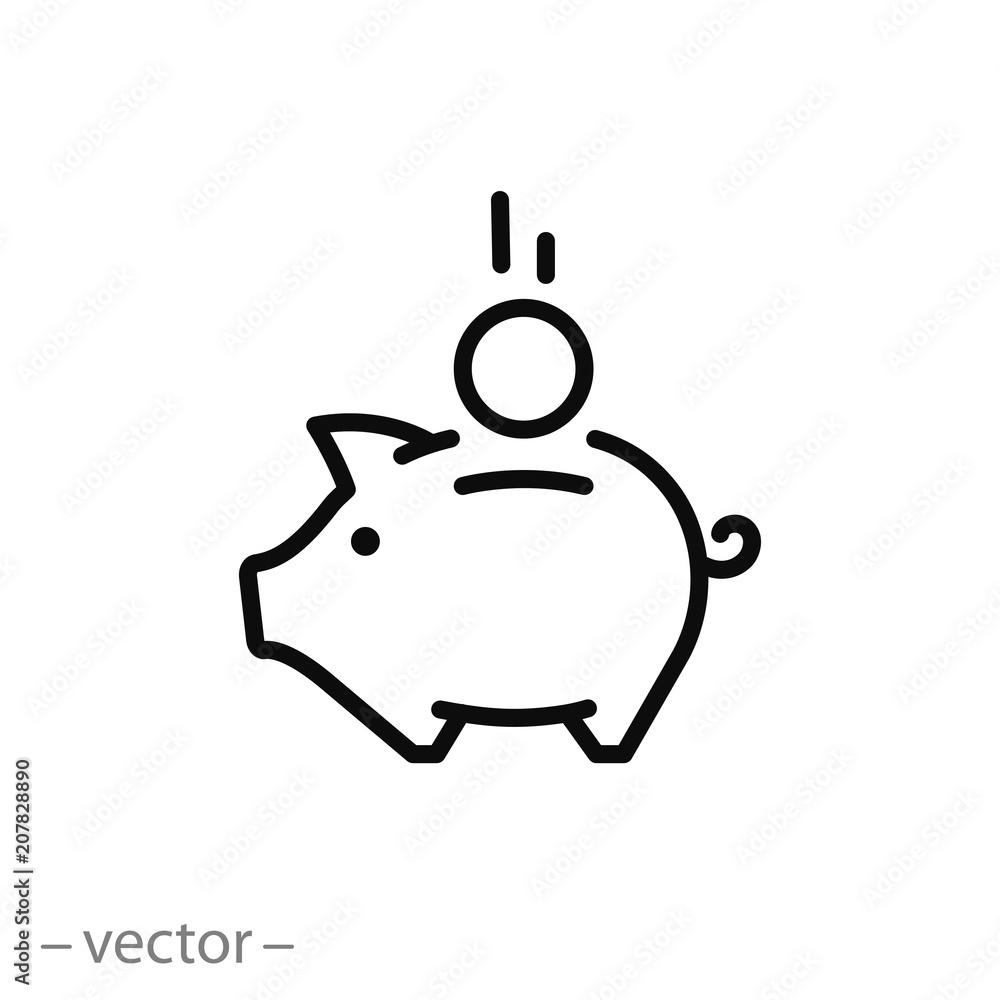 Fototapeta piggy bank icon vector