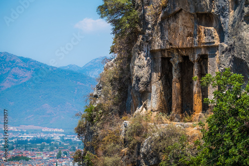 Keuken foto achterwand Historisch geb. Amyntas rock tombs - 4th BC tombs carved in steep cliff. City of Fethiye, Turkey.
