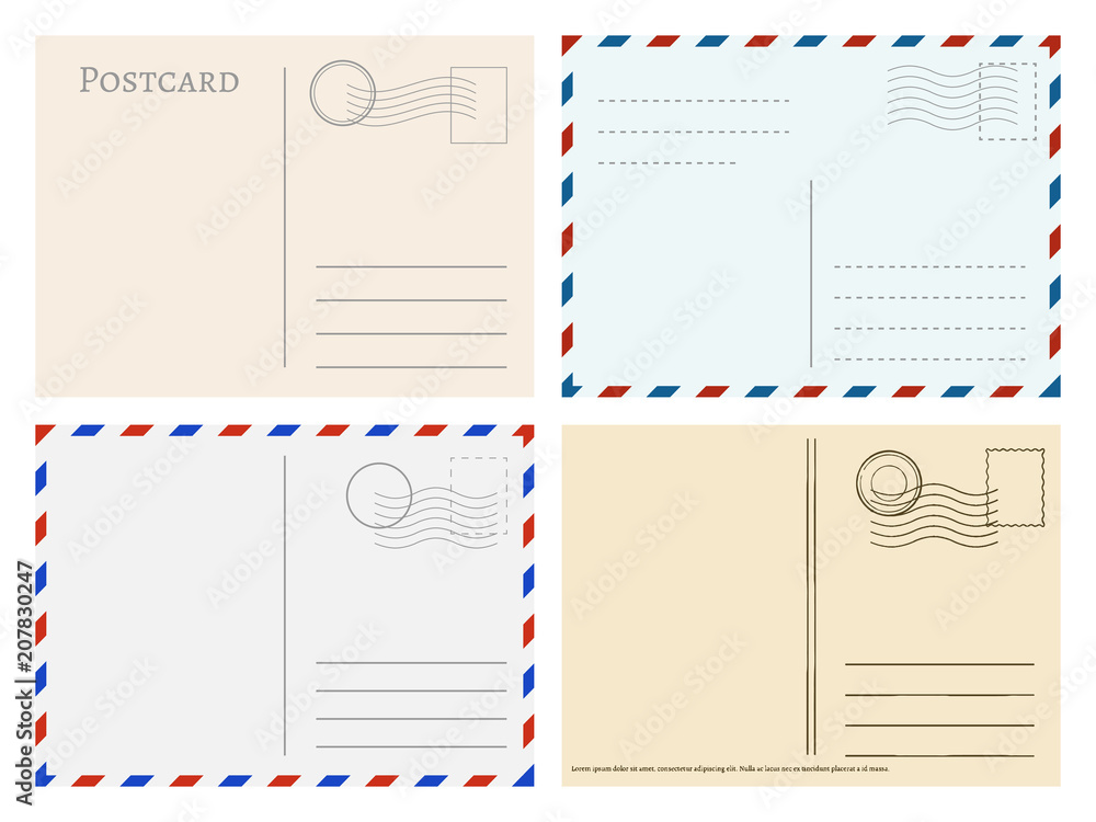 Fototapeta Travel postcard templates. Greetings post cards backside vector set