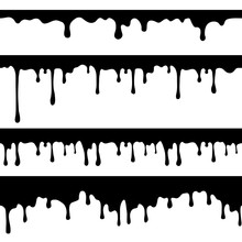 Paint Dripping, Black Liquid Or Melted Chocolate Drips Seamless Vector Currents Isolated