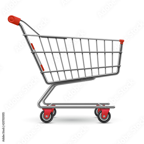 Obraz na płótnie Realistic empty supermarket shopping cart vector illustration isolated on white