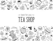 Tea Time Doodle Elements In Ho...