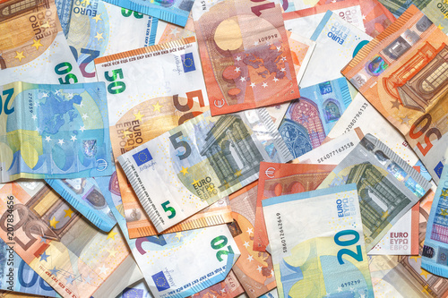 Poster Imagination Euro banknotes background of Euros of Europe, EUR currency. Financial colorful background.