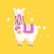 Cute dressed llama. Lama illustration vector. Fantasy animal card, t-shirt cute print.