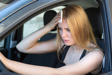 Woman Tired Of Heat In A Car I...