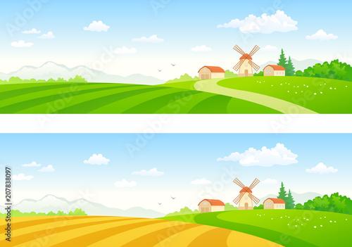 Spoed Foto op Canvas Turkoois Rural field banners