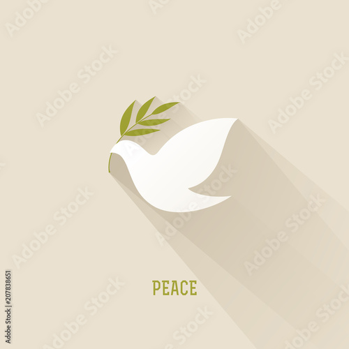 Foto Peace dove with olive branch. Vector illustration