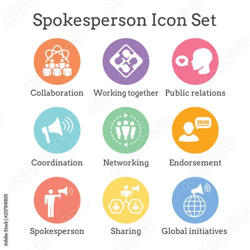 Spokesperson icon set - bullhorn, coordination, pr, and public relations person Wallpaper Mural
