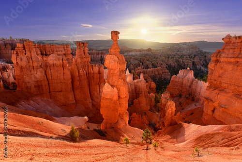 Rouge traffic Thor's hammer in Bryce Canyon National Park in Utah USA during sunrise.