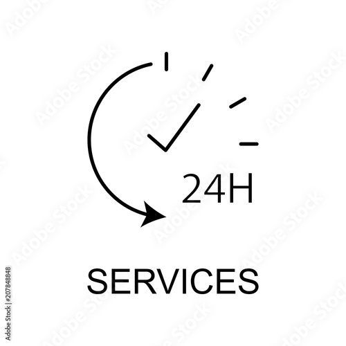 services 24 hour outline icon Wallpaper Mural