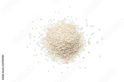 Pile of white sesame seeds on white background, Top view.