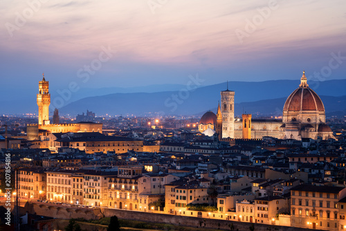 Aluminium Prints Florence Florence Cathedral at Night in Florence - Italy