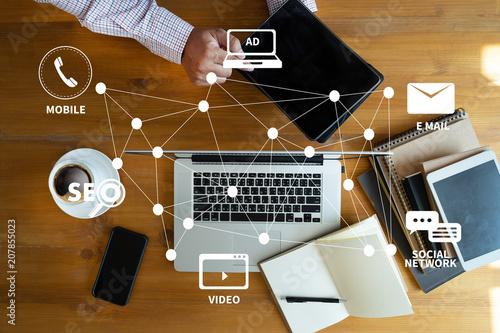 Fotografía  DIGITAL MARKETING new startup project MILLENNIALS Business team hands at work wi