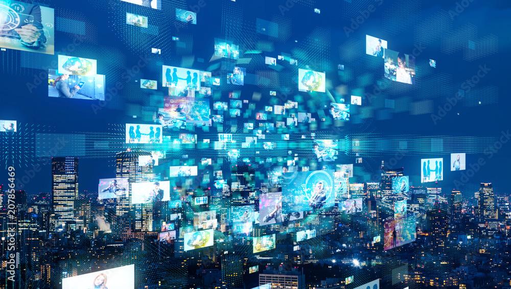 Fototapeta Social network and city.