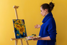 Girl Artist Paints Sunflowers ...
