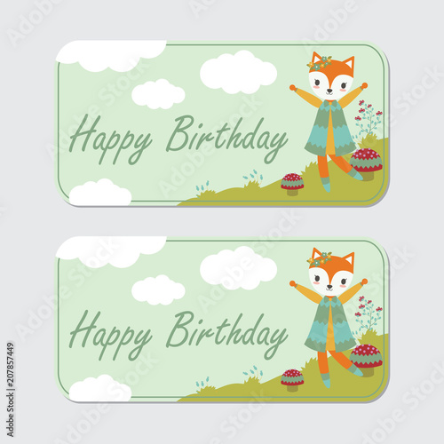 Vector cartoon illustration with cute fox is happy on the