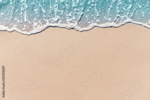 Close up soft wave lapped the sandy beach, Summer Background. - 207858297