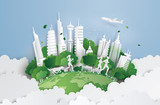 Fototapeta Miasto - green city on the sky.