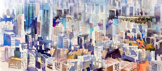 Fototapeta Abstrakcja Watercolor painting landscape colorful of city