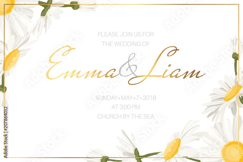 Wedding Event Invitation Card Template Daisy Chamomile Wild Flowers