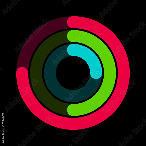 Fotografie, Obraz  Circular red, green and blue activity ring flat vector icon for watch apps and w
