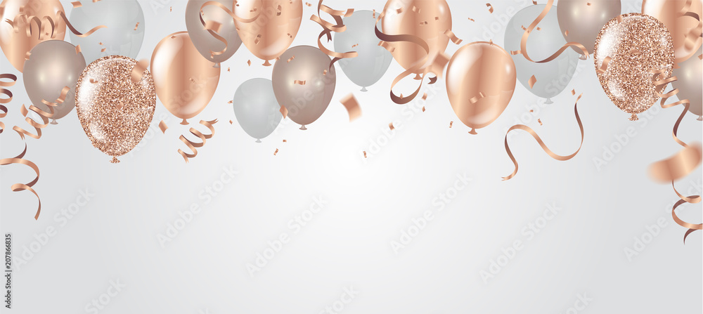 Fototapeta Happy birthday vector illustration. Confetti and ribbons gold orange balloon, confetti, design template for birthday celebration. art