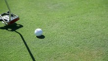 Close Up Shot Of A Golf Club That Hits The Golf Ball Straight To The Hall