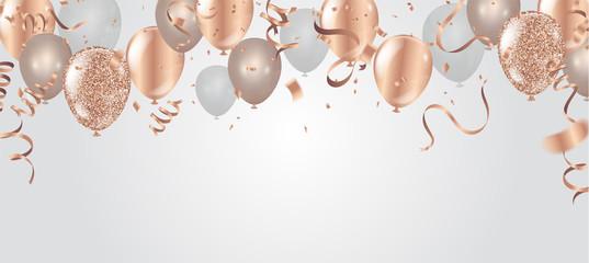 Happy birthday vector illustration. Confetti and ribbons gold orange balloon, confetti, design template for birthday celebration. art