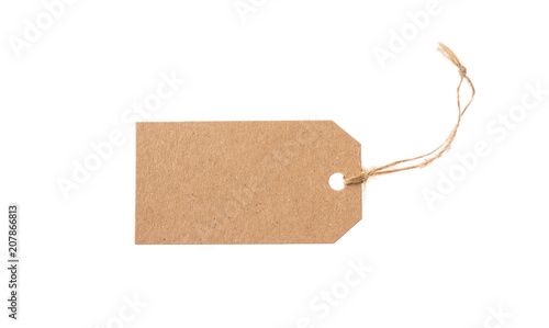 Fototapeta Beige recycled tag isolated on a white background obraz