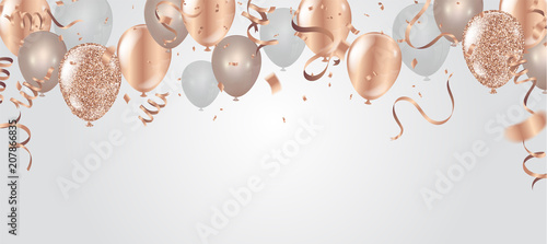 Happy birthday vector illustration. Confetti and ribbons gold orange balloon, confetti, design template for birthday celebration. art