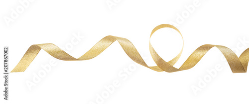 Fotografie, Obraz Golden satin ribbon isolated on white background, banner