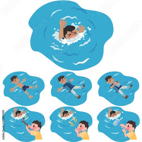 溺れる男性 背浮き救助セット Canvas Print
