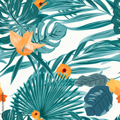 Foto op Canvas Bloemen vrouw Tropical fern greenery with exotic orange flowers seamless pattern on white background. Green turquoise jungle palm tree monstera leaves. Floral elements. Vector design for fashion, fabric, textile.