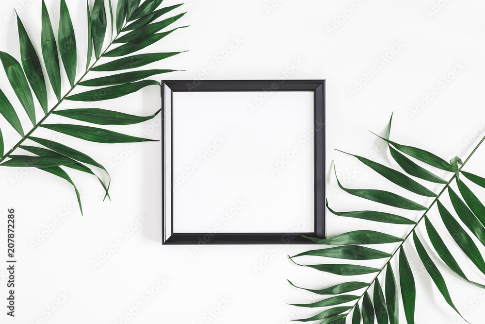 Fototapety, obrazy: Tropical palm leaves, photo frame, on white background. Summer concept. Flat lay, top view, copy space