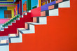 Leinwanddruck Bild - Patterns and bright colors of the stairs.