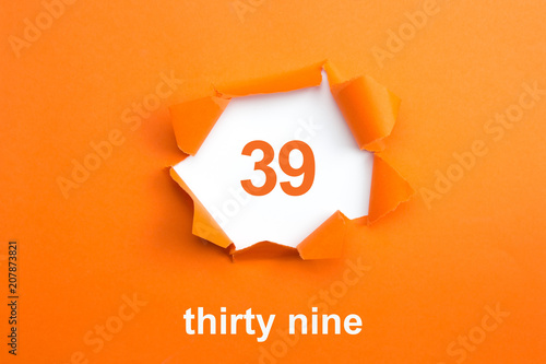 Poster  Number 39 - Number written text thirty nine