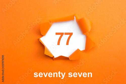 Fotografie, Obraz  Number 77 - Number written text seventy seven