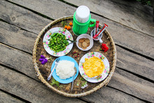 Khantok Thai Food Traditionally Breakfast For Gest Host At Pa Pong Pieng Homestay, Mae Chaem, Chiang Mai, Thailand..