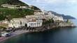 Aerial view of Amalfi on Amalfi coast, Italy